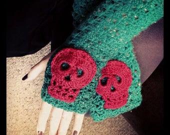 Crochet Skull Fingerless gloves
