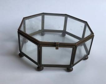 Vintage Octagonal Glass Metal Display Case