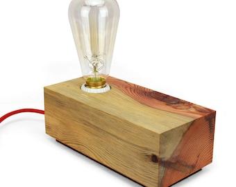Table lamp, table lamp, lamp edison wood edison, handmade, reclaimed wood, light bulb edison lamp lamp