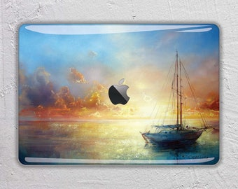Sunset oil paint macbook skin Painting macbook decal art macbook sticker sunset macbook cover boat macbook pro skin macbook air 13  FSM212