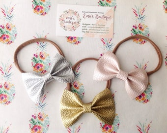 Faux Leather Bows, Gold Faux Leather Bow, Solid Color Faux Leather Bows, Babygirl Headbands, Babygirl Bows, Bows on a Clip, Nylon Headband