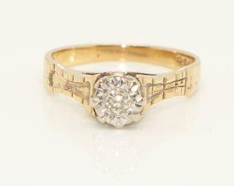 Vintage 1976 9 Ct Gold & 0.1 Ct Solitaire Diamond Ring, Size L