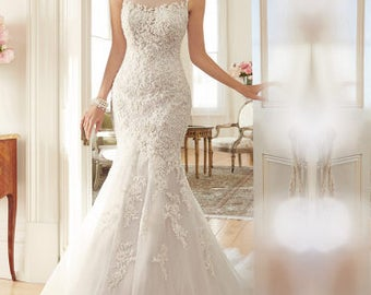 Stunning Scoop Sheer Back Lace Wedding Dress With Beaded Chapel Train