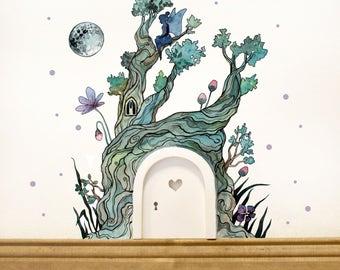 Elf door with wall sticker fairy magical fairy tree E06