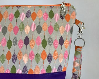 Fallen Leaves - medium sized project bag for knitting/crochet