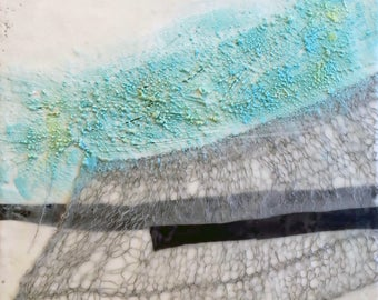 Mixed Media Encaustic with Embedded Fiber and Heavy Texture