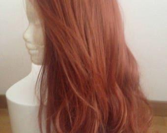 "Reddish Auburn Brown 16"" Lace Front Wig / Cosplay Poison Ivy - Black Widow - Ariel - Jessica Rabbit"