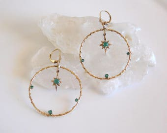 14k solid gold Large gypsy hoop earrings with Emeralds and dangling northern star