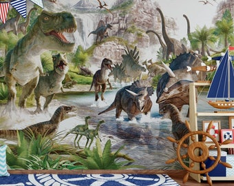 dinosaurs wall decal mural home living room wallpaper removable Non-woven  Peel and Stick dino