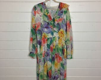 Vintage 1970s Bright Floral Cotton Dress / Ruffled Neckline / Made by Henry Lee / Size XL / Sheer Cotton