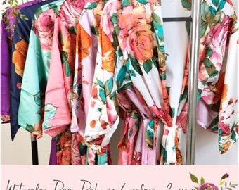 Bridesmaid Robes, Set of 7 Robes, Bridesmaid Gift, Bridal Robe, Satin Floral Robe, Bridesmaid Gifts, Bridal Robe Set