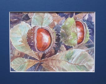 Original watercolor painting Chestnut tree Small watercolor painting