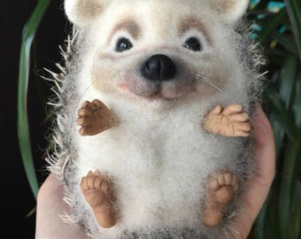 Hedgehog Gift, Needle Felted Hedgehog, Felt Hedgehog Sculpture, Hedgehog Lover Gift, Needle Felted Animal