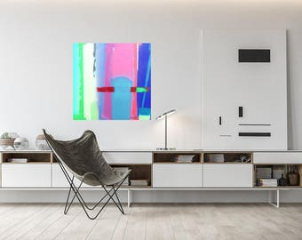 Canvas Art, Abstract Art, Wall Art, Free Shipping, Giclee Print, Art, Stretched Canvas, Painting, Gift For Her, Urban Summer 11BP