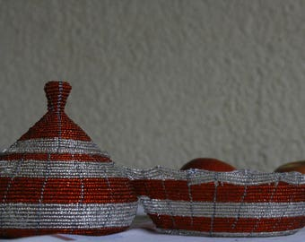 African Basket // Gift for her // Decorative Basket // Shining Basket // Wire beaded basket // uniquely basket // Jewelry Holder