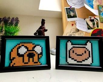 Adventure time perler bead designs in frames