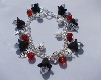 Black Lucite Flower Bracelet