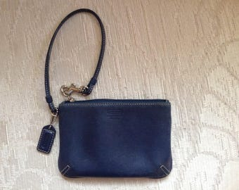 Coach Leather Legacy Wristlet In Navy