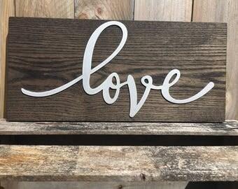Love Sign, Metal Art, Love Decor, Wall Art, Home Decor, Rustic, Wood Sign