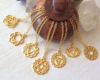 Chakra Pendant Necklace, Gold Yoga Necklace, Zen Chakra