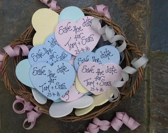 Save The Date Wooden Hearts