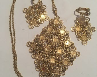 Vintage sarah cov demi necklace and earrings signed