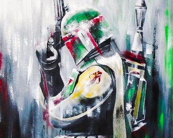 Reproduction on canvas boba fett 24 x 30 in