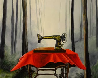 Contemporary art, painting, acrylic painting, forest, trees, sewing machine, unique art