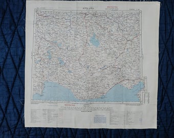 Vintage Silk SAS Escape Scarf Cloth Map from 1950 - SINOP // ANKARA