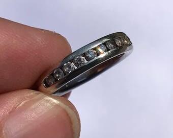 0.3 carat vintage 9k ct white gold half eternity wedding ring plain channel set band 3.6g US size 6 UK Size L.5