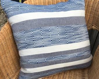 Woven Coastal Blue & White Stripe Cushion Cover 50 x 50