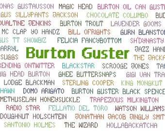 Gus's Aliases - Psych Cross Stitch Pattern