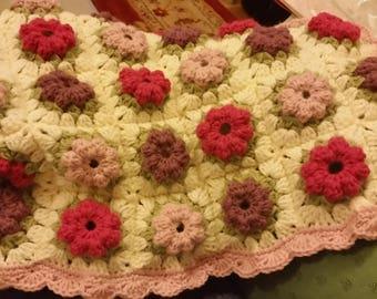Handmade Crochet Baby Blanket - Pink Granny Square Design