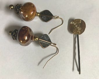 Pair of Earrings and Bobby Pins Set