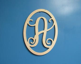 Unfinished Wood Oval Frame with Monogram Letter at the Center, 19.5 inches tall