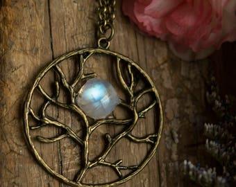 Moon Tree Necklace- Rainbow Moonstone