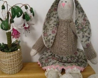 Rabbit Bunny Interior doll Textile doll Tilda doll Toys Gift  Collectable doll Rag doll  Soft doll Handmade doll Fabric doll Decor doll