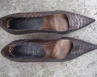 Elegant genuine leather shoes, Vintage Shoes ,size 39, Vintage Brown Copper Shoes