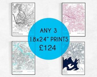"THREE 18X24"" City Map Prints, Custom City Map Prints, Street Map, Personalized, Wedding, Housewarming Gift, Graduation, City Map Wall Art"