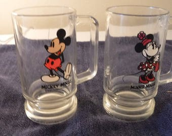 Mickey & Minnie Mouse matching glass mugs with handles - Disney - 1970's