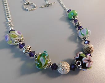 Sterling Silver Lampwork Beaded Necklace and Earrings
