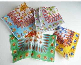 4 Hankies chiffon silk floral bright colors Fifties transparent daffodils green yellow grey aqua