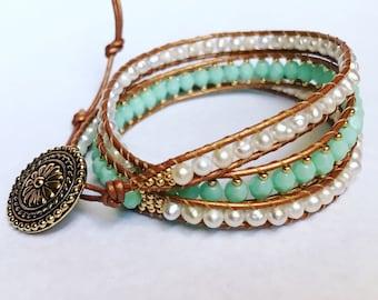 Mint freshwater pearl leather wrap bracelet, bohemian, boho chic, nautical jewelry, beach jewelry, Chan Luu style, necklace, anklet