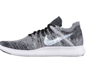Nike Swarovski Custom Bling Nike Free RN Flyknit 2017 In Grey Custom Women's Sneakers With Swarovski Crystals