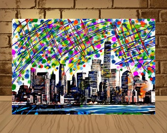 New York poster,New York print, NYC poster, New York city skyline, New York city print, NYC watercolour,Wall art,Home Decor,iPrintPoster,art