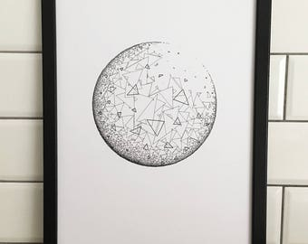Geometric Circles , A3 Art Print, Hand Drawn, Original Art