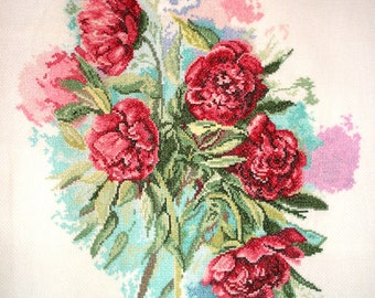 "Embroidered painting ""Peonies"""