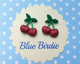 Cherry earrings cherry jewellery cherry jewelry glitter cherry stud earrings fruit jewellery summer earrings rockabilly cherry gift
