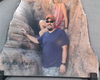 Personalized photo on slate