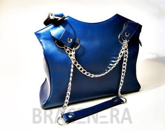 China blue leather bag with chain in meallo. Art. BP-1005